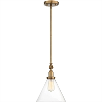 Picture for category Pendants 1 Light With Warm Brass Tone Finish Incandescent Bulbs 10 inch 100 Watts