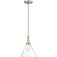 Picture for category Pendants 1 Light With Satin Nickel Finished Incandescent Bulbs 10 inch 100 Watts