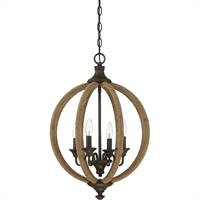 Picture for category Pendants 4 Light With Artisan Rust Finished Metal Rope C Bulb 17 inch 240 Watts