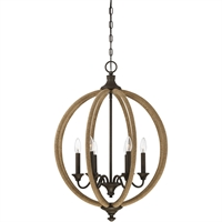 Picture for category Pendants 6 Light With Artisan Rust Finished Metal Rope C Bulb 22 inch 360 Watts