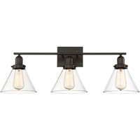 Picture for category Bathroom Vanity 3 Light With English Bronze Finish Incandescent Bulbs 28 inch 300 Watts