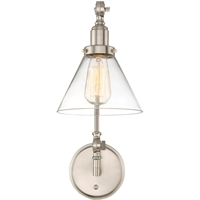 Picture for category Wall Sconces 1 Light With Satin Nickel Finish Incandescent Bulbs 7 inch 100 Watts