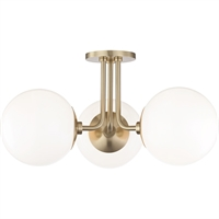 Picture for category Mitzi By Hudson Valley H105603-AGB Semi Flush Aged Brass Metal Glass Stella
