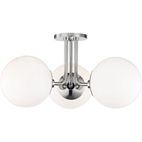 Picture for category Mitzi By Hudson Valley H105603-PN Semi Flush Polished Nickel Metal Glass Stella