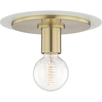 Picture for category Mitzi By Hudson Valley H137501S-AGB/WH Flush Mounts Aged Brass Metal Milo