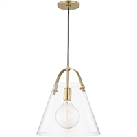 Picture for category Mitzi By Hudson Valley H162701L-AGB Pendants Aged Brass Metal Glass Karin