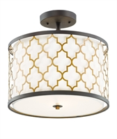 Picture for category Maxim Lighting 20291WLOIAB Semi Flush Oil Rubbed Bronze and Antique Brass Steel and Glass and Fabric Crest