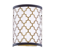 Picture for category Maxim Lighting 20294WLOIAB Wall Sconces Oil Rubbed Bronze and Antique Brass Steel and Glass and Fabric Crest