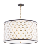 Picture for category Maxim Lighting 20295WLOIAB Pendants Oil Rubbed Bronze and Antique Brass Steel and Glass and Fabric Crest