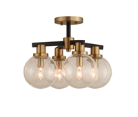 Picture for category Kalco Lighting 315440BBB Semi Flush Matte Black with Brushed Pearlized Brass Cameo