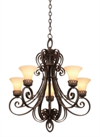 Picture for category Kalco Lighting 5198B/1339 Chandeliers Black Hand Forged Iron Mirabelle