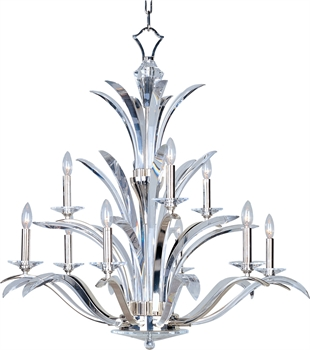 Picture of Chandeliers 9 Light Bulb Fixture With Plated Silver Finish Steel Material Candelabra Bulbs 38 inch 540 Watts