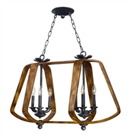 Picture for category Island 6 Light Bulb Fixture With Barn Wood and Iron Ore Finish Wood Steel Alum Cast Material CA Bulbs 36 inch 240 Watts