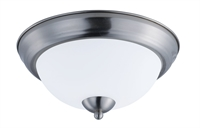 Picture for category Flush Mounts 2 Light Bulb Fixture With Satin Nickel Finish Steel Material MB Bulbs 11 inch 120 Watts