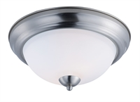 Picture for category Flush Mounts 2 Light Bulb Fixture With Satin Nickel Finish Steel Material MB Bulbs 13 inch 120 Watts