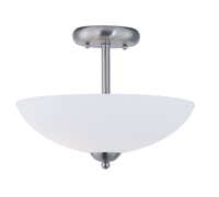 Picture for category Semi Flush 2 Light Bulb Fixture With Satin Nickel Finish Steel Material MB Bulbs 13 inch 120 Watts