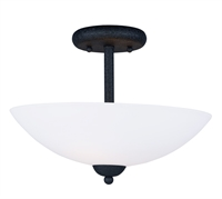 Picture for category Semi Flush 2 Light Bulb Fixture With Textured Black Finish Steel Material MB Bulbs 13 inch 120 Watts