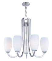 Picture for category Chandeliers 5 Light Bulb Fixture With Satin Nickel Finish Steel Material MB Bulbs 28 inch 300 Watts