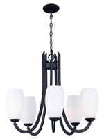 Picture for category Chandeliers 5 Light Bulb Fixture With Textured Black Finish Steel Material MB Bulbs 28 inch 300 Watts