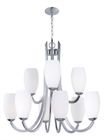 Picture for category Chandeliers 9 Light Bulb Fixture With Satin Nickel Finish Steel Material MB Bulbs 32 inch 540 Watts