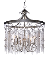 Picture for category Chandeliers 6 Light Bulb Fixture With Silver Mist Finish Steel Material CA Bulbs 24 inch 360 Watts