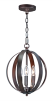 Picture for category Pendants 3 Light Bulb Fixture With Oil Rubbed Bronze Finish Steel Material CA Bulbs 12 inch 180 Watts