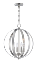 Picture for category Pendants 4 Light Bulb Fixture With Satin Nickel Finish Steel Material CA Bulbs 16 inch 240 Watts