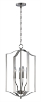 Picture for category Pendants 4 Light Bulb Fixture With Satin Nickel Finish Steel Material CA Bulbs 15 inch 240 Watts