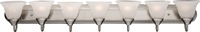 Picture for category Bathroom Vanity 7 Light Bulb Fixture With Satin Nickel Finish Aluminum Material Medium Bulbs 48 inch 700 Watts