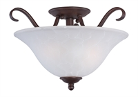 Picture for category Semi Flush 2 Light Bulb Fixture With Oil Rubbed Bronze Finish Iron Material Medium Bulbs 14 inch 200 Watts