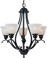 Picture for category Chandeliers 5 Light Bulb Fixture With Black Finish Iron Material Medium Bulbs 26 inch 500 Watts