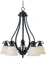 Picture for category Chandeliers 5 Light Bulb Fixture With Black Finish Iron Material Medium Bulbs 25 inch 500 Watts