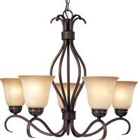 Picture for category Chandeliers 5 Light Bulb Fixture With Oil Rubbed Bronze Finish Iron Material Medium Bulbs 26 inch 500 Watts