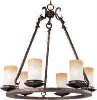 Picture for category Chandeliers 6 Light Bulb Fixture With Oil Rubbed Bronze Finish Iron Material Candelabra Bulbs 24 inch 360 Watts