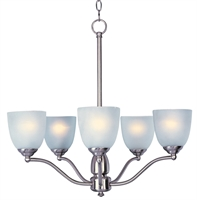 Picture for category Chandeliers 5 Light Bulb Fixture With Satin Nickel Finish METAL Material MB Bulbs 25 inch 300 Watts