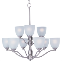 Picture for category Chandeliers 9 Light Bulb Fixture With Satin Nickel Finish METAL Material MB Bulbs 30 inch 540 Watts