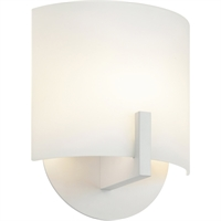 "Picture for category Wall Sconces 1 Light Fixture With Textured White Finish White Etched Glass LED 7"" 9 Watts"