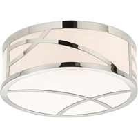 "Picture for category Flush Mounts 1 Light Fixture With Polished Nickel Finish White Glass LED 5"" 13 Watts"