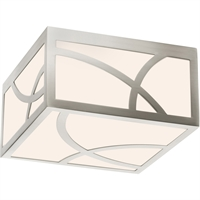 "Picture for category Flush Mounts 1 Light Fixture With Satin Nickel Finish White Glass LED 8"" 13 Watts"