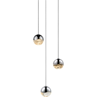 "Picture for category Pendants 3 Light Bulb Fixture With Polished Chrome Tone Finish LED 3"" 27 Watts"