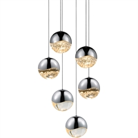 "Picture for category Pendants 6 Light Bulb Fixture With Polished Chrome Tone Finish LED 4"" 198 Watts"