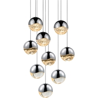 "Picture for category Pendants 9 Light Bulb Fixture With Polished Chrome Finished LED 4"" 445.5 Watts"