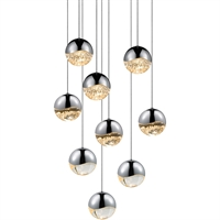 "Picture for category Pendants 9 Light Bulb Fixture With Polished Chrome Tone Finish LED 3"" 324 Watts"