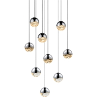 "Picture for category Pendants 9 Light Bulb Fixture With Polished Chrome Tone Finish LED 3"" 243 Watts"