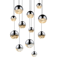 "Picture for category Pendants 12 Light Bulb Fixture With Polished Chrome Tone Finish LED 4"" 600 Watts"