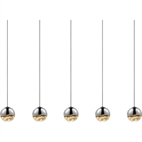 "Picture for category Pendants 5 Light Bulb Fixture With Polished Chrome Tone Finish LED 37"" 75 Watts"