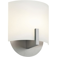 "Picture for category Wall Sconces 1 Light Fixture With Bright Satin Aluminum Finish White Etched Glass LED 7"" 9 Watts"