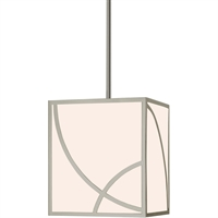 "Picture for category Pendants 1 Light Fixture With Satin Nickel Tone Finish White Glass LED 12"" 35 Watts"