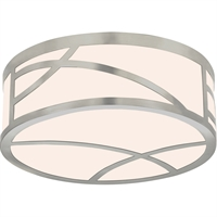 "Picture for category Flush Mounts 1 Light Fixture With Satin Nickel Finish White Glass LED 5"" 13 Watts"