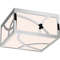 "Picture for category Flush Mounts 1 Light Fixture With Polished Nickel Finish White Glass LED 8"" 13 Watts"